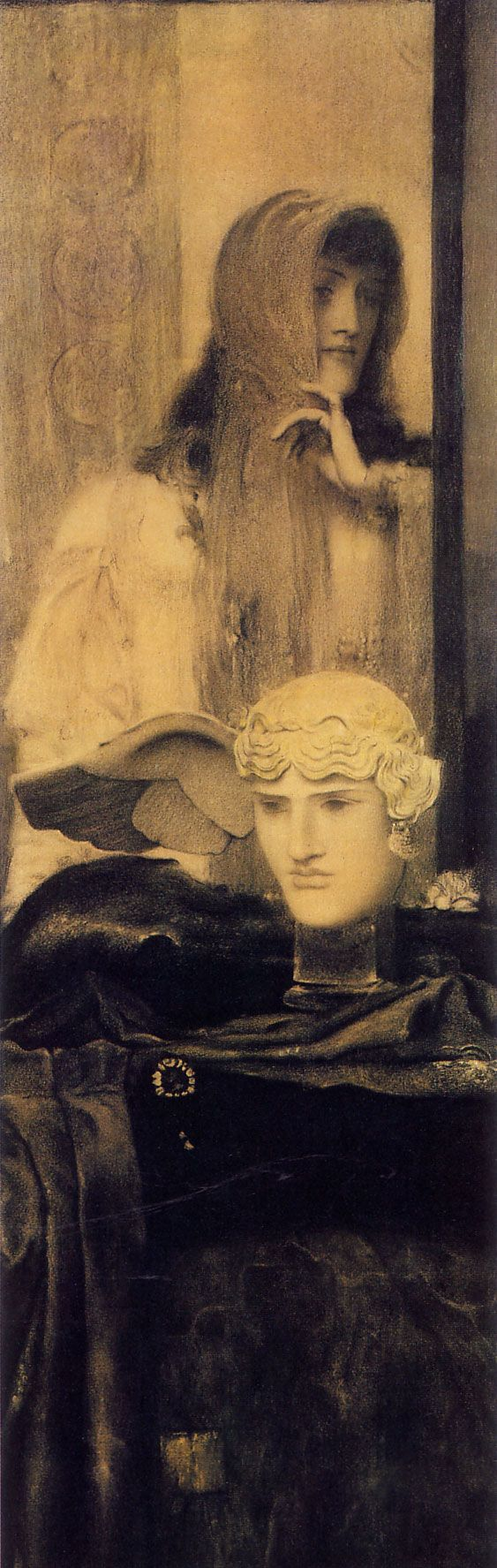 White, Black and Gold by Fernand Khnopff, Gouache + on paper 1901 Woman with a statue of Hypnos by the Belgian artist Fernand Khnopff.: