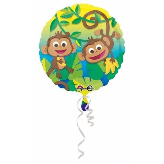 Helium ballon jungle apen rond. De ballon wordt gevuld met helium bij u bezorgd. De ballon is opgeblazen ongeveer 43 cm groot. Deze folie ballon wordt gevuld met helium geleverd en kan derhalve niet worden geretourneerd.