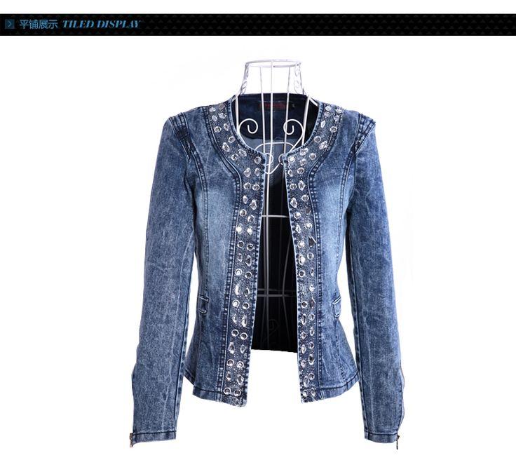 mulheres casual jaqueta jeans senhora do vintage jeans jaqueta jeans da mulher diamante paillette casaco mulheres revestimento da motocicleta em Jaquetas Básicas de Roupas & acessórios no AliExpress.com