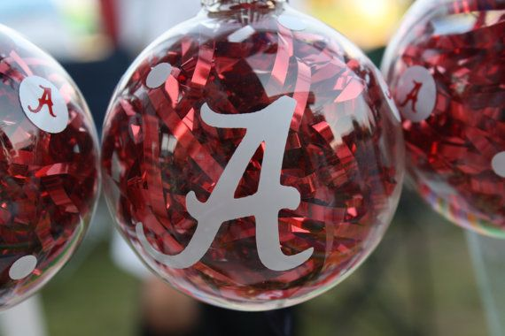 These would be so simple to make! I could see monogramming rather than sports for a personalized gift.  Collegiate Glass Ball Ornaments, Etsy seller Whozitandwhatzit, $6.99 usd