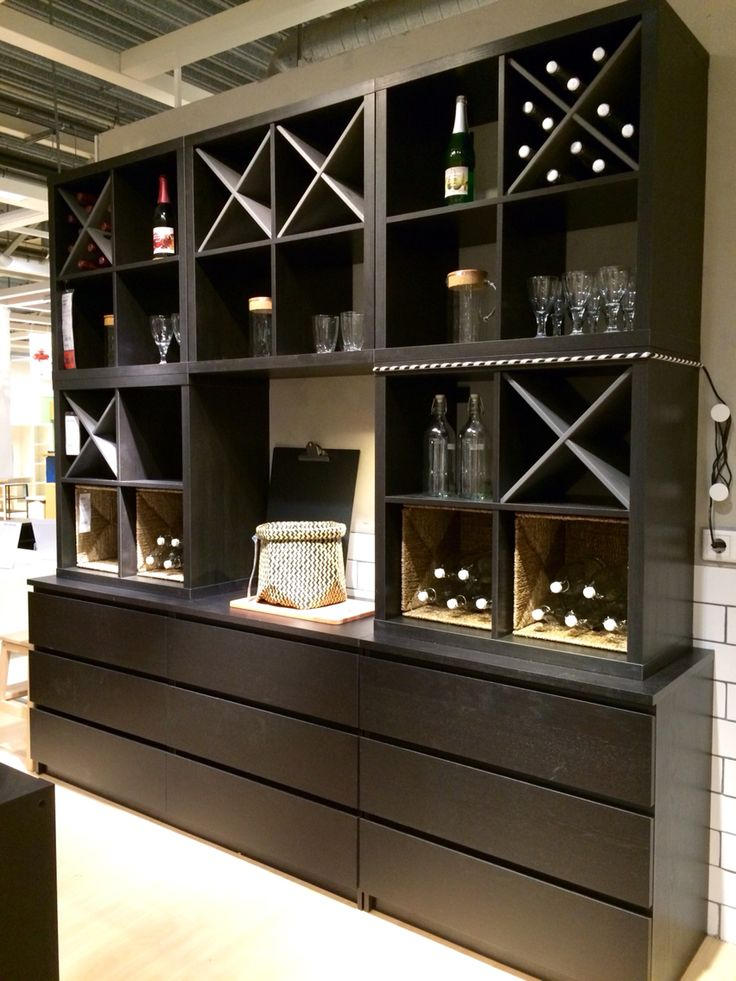 MALM chest of drawers combined with five hanging KALLAX open shelving units…
