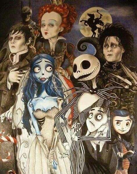 Dark Shadows- Barnabas Collins; Batman; Alice in Wonderland  - the Red Queen; Sleepy Hollow  - the Headless Horseman; Edward Scissorhands; Coraline; Jack Skellington.