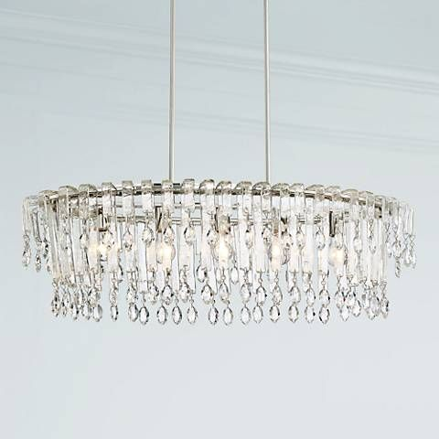 Clear Crystal Glitters Off The Polished Nickel Frame Of This Vienna Full Spectrum Island Chandelier