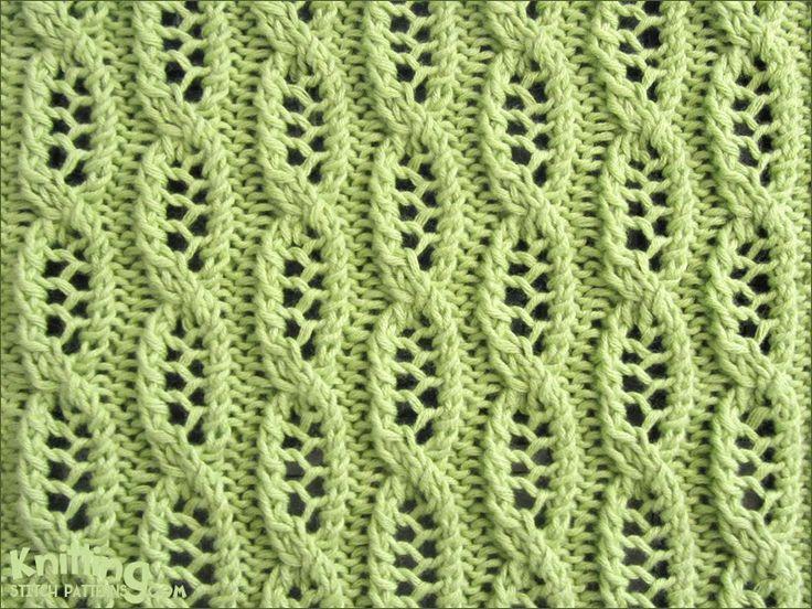 Lace Cable, knitting stitch pattern on KnittingStitchPatterns.com