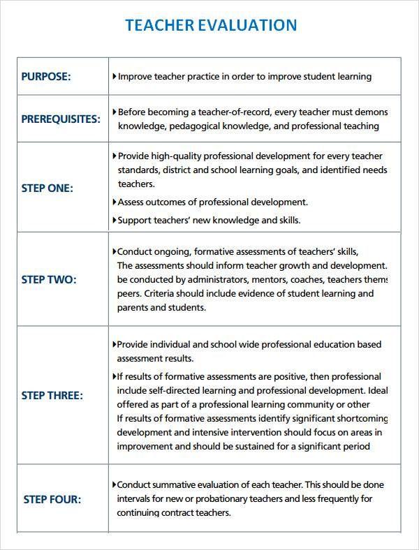 Teacher Evaluation Format Template Download Teacher Evaluation
