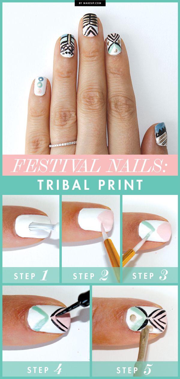DIY Festival Nails: Tribal Print // #nails