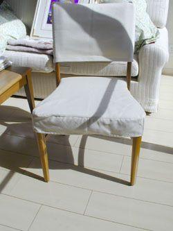 ティント・アンド・トォーン 椅子カバーについて実例7/Tint&Tone ... 生地ウォシャブルデニム生成り。部分カバーだと、椅子ラインを隠さないのでデザインイメージが変わらずスッキリした印象に。