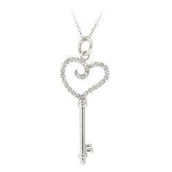 Sterling Silver 1/5ct TDW White Diamond Heart Key Necklace (I-J, I2-I3)