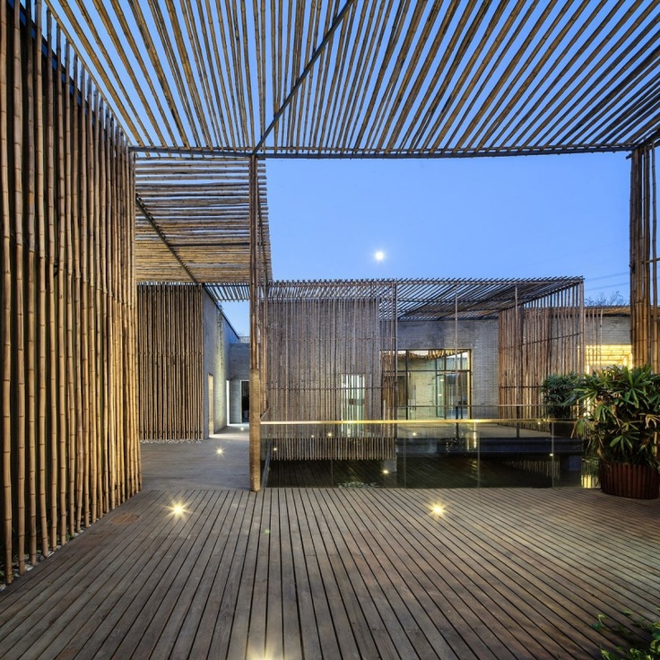 Architecture. Awesome Office With Bamboo Courtyard Above Water: House With Water Under And Bamboo Structure Courtyard ~ Colefacts
