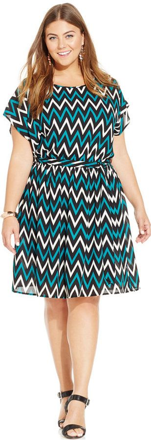 Plus Size Dolman-Sleeve Printed Dress