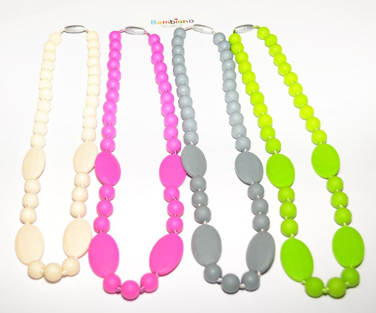 Bambiano Eliza Necklace Collection. Available in 4 colours. Products are made of 100% Food grade silicone. BPA free, Lead free and nontoxic. Fashionable for Mums and safe for teething babies to chew on. Pendants are washable and soft on baby's gums. Shop at www.bambiano.com