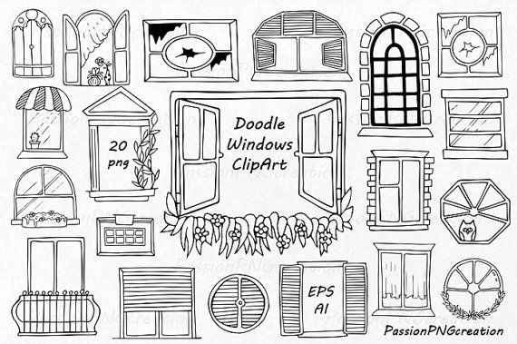 Doodle Windows Clipart Hand Drawn window by PassionPNGcreation