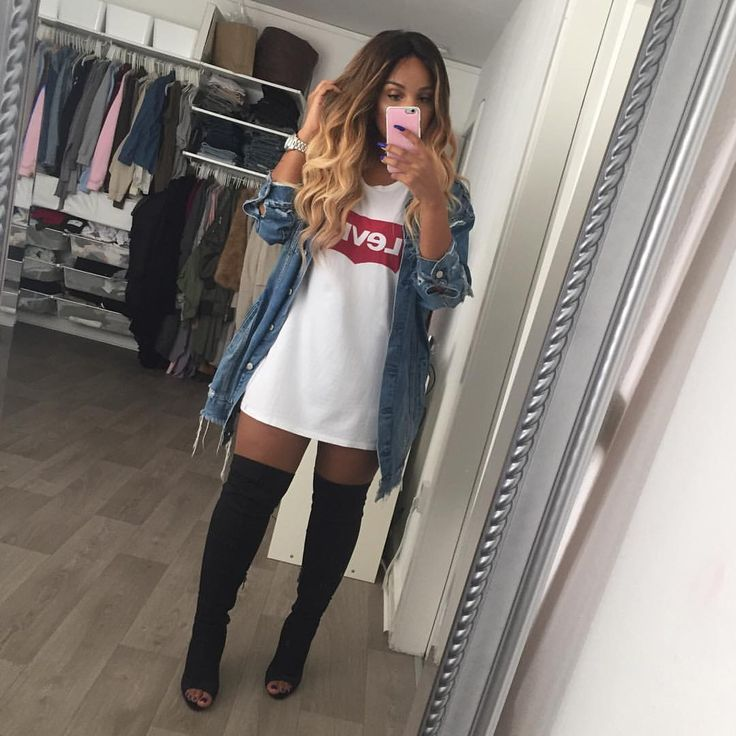 See this Instagram photo by @sherlinanym • 53.7k likes over the knee tee shirt dress denim casual slay Wynwood urban edgy