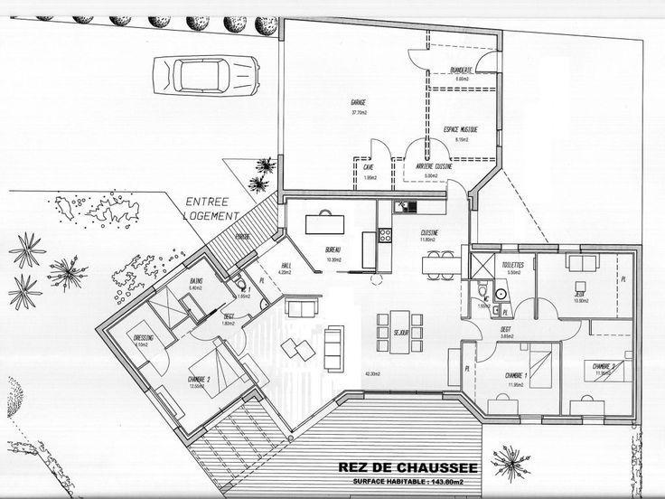 Audacieuse plan maison 140m2 4 chambres - #140m2 #chambres #Maison #plan WU-06