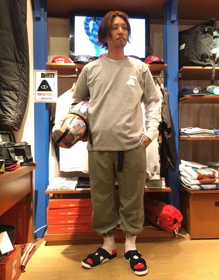 【POLER/ポーラー】POPUP SHOP !! ビックシルエットのTシャツは、袖プリントのアイテムと相性good! ショートパンツとの相性も良さそうです☆ 女性の方にもオススメですよ!  着用モデル 177㎝  着用アイテム  tops 【POLER/ポーラー】 サイズ free ¥5,800+tax inner 【is-ness/イズネス】サイズ L ¥7,300+tax  shoes【SHAKA/シャカ】サイズ 27 ¥8,300+tax
