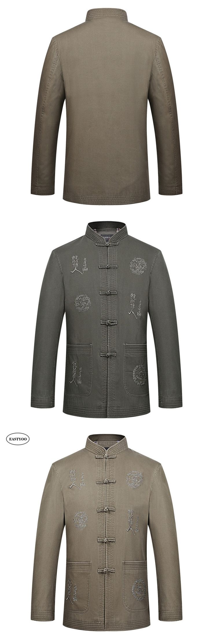 Mandarin Collar Jackets Men Cotton Jackets Plus Size Chinese Style Clothing Button Tang Jacket Green Han Fu Winter Chinese Tops