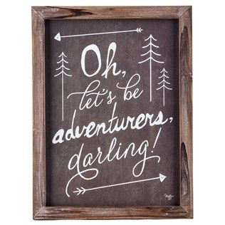 brown white lets be adventurers framed wall art shop hobby lobby
