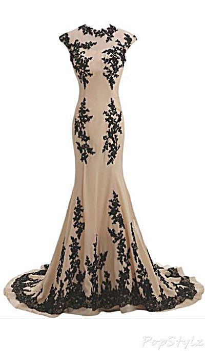 Champagne & Black Chiffon Floor Length Long Gown