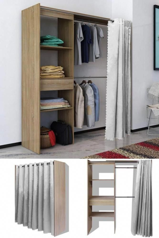 Wooden Clothes Storage Cabinet Oak Wardrobe Shelves Drawer Curtain