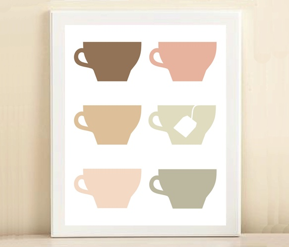 Tea Cups Print by Amanda Catherine designs
