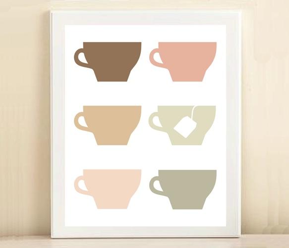 Tea Cups Print  by Amanda Catherine designs