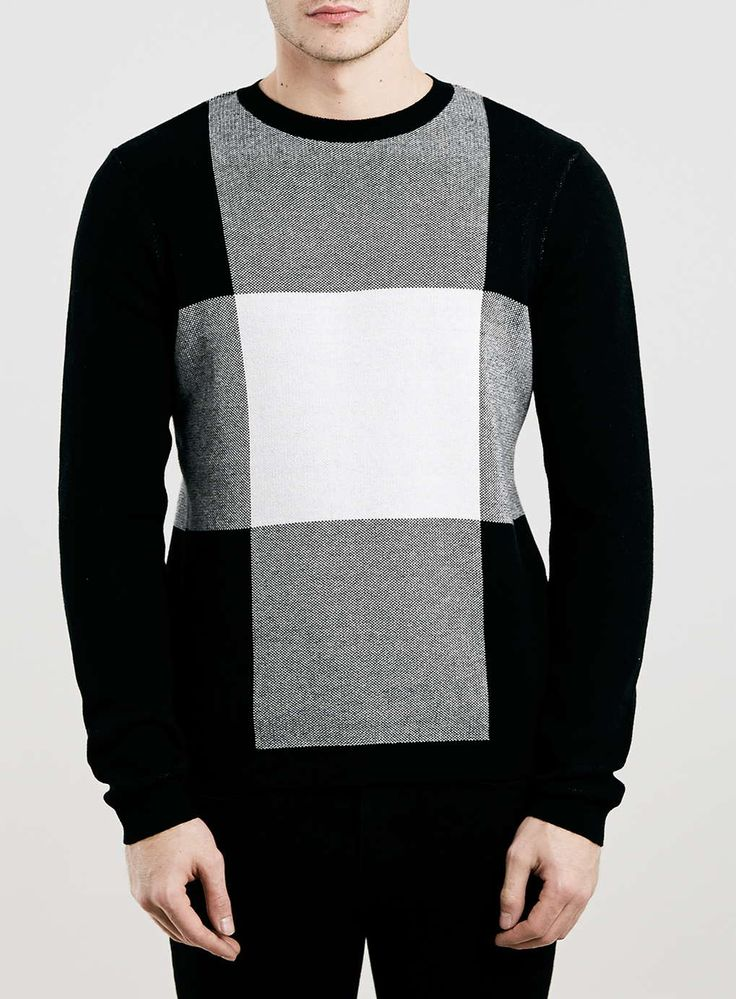 Monochrome Oversized Check Knitted jumper