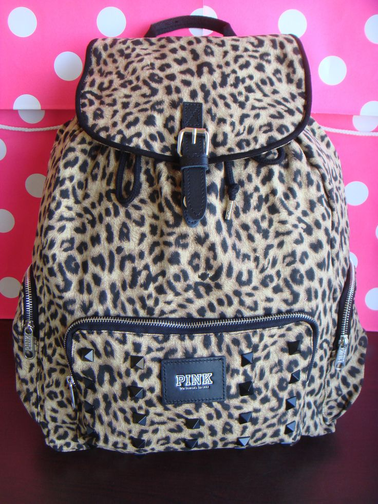 Victorias Secret Pink School Book Bag Tote Backpack Leopard Print With Bling Studs
