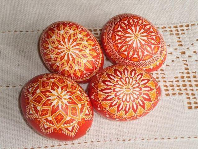 "Czech traditional Easter Eggs ""Kraslice"" (Moravia, Europe)-red/orange/white"