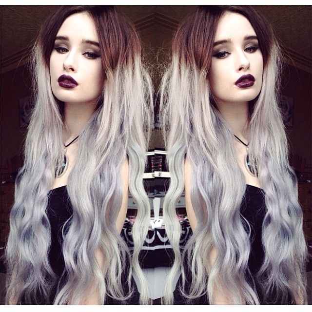 Granny hair, Silver hair color ~ wonderful gray ombre hair color idea~ Brown to Granny Silver Two Color