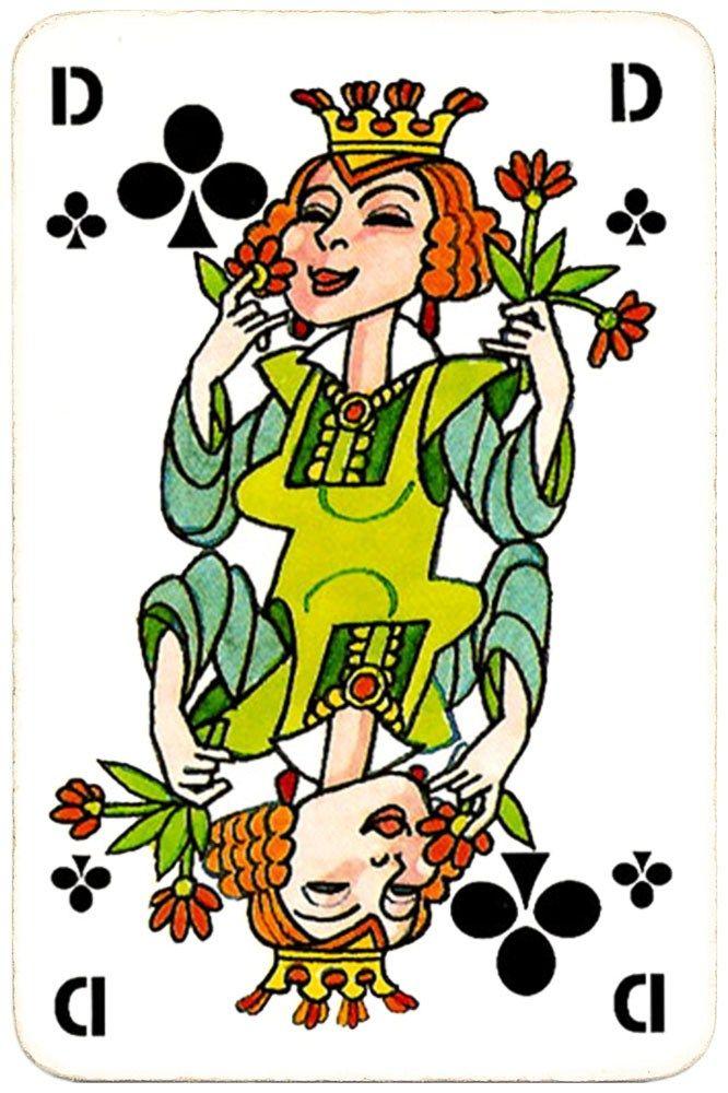 Cartoon Card Queen Of Clubs Dsb Gods Designlab Kopenhagen