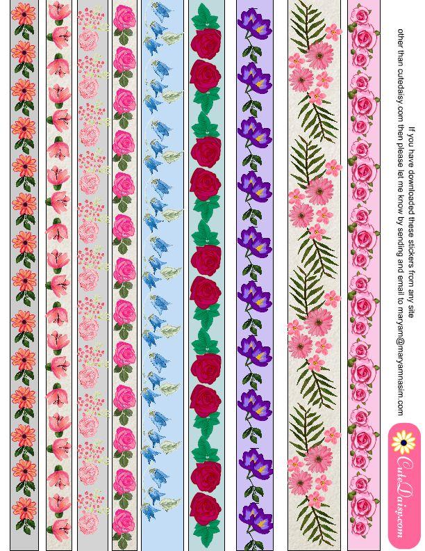 Free Printable Floral Washi Tape {Set 2}