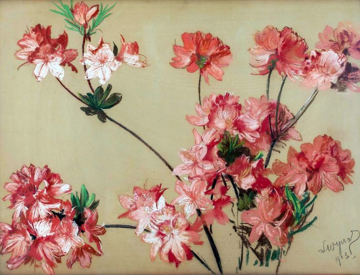 Pink azaleas by Leon Wyczółkowski, 1903 (PD-art/80), Muzeum Narodowe w Warszawie (MNW)