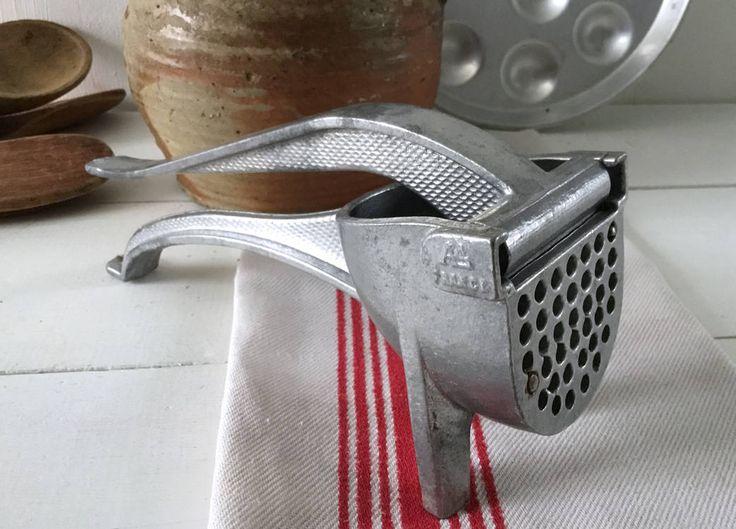 Garlic press, Onion Potato French vintage mashers, rustic aluminum kitchen utensils, French antique kitchen decor, kitchen utensils vintage by frenchvintagebazaar on Etsy