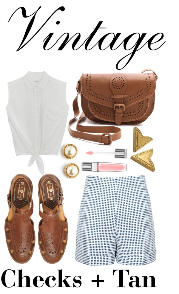 """Vintage Checks + Tan"" by michelleanned on Polyvore"
