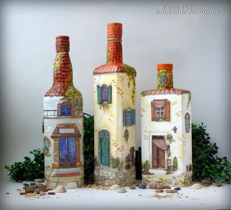 Декупаж - Сайт любителей декупажа - DCPG.RU   Мой прованский городок. Бутылки-светильники.