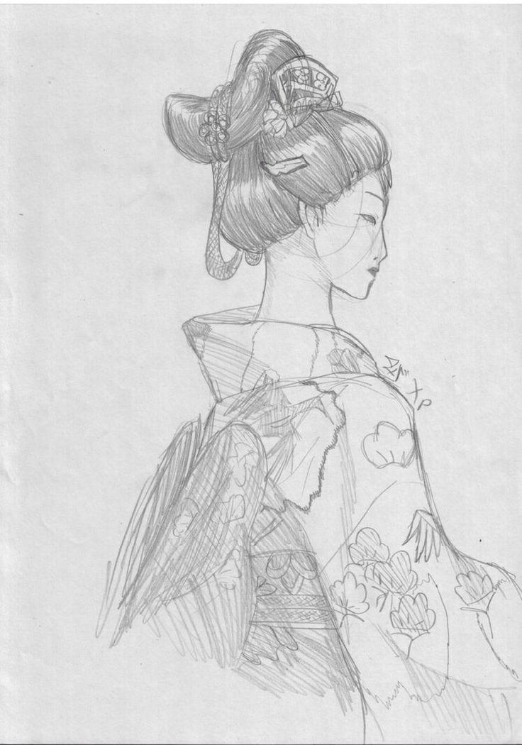 Geisha pencil drawing japanese