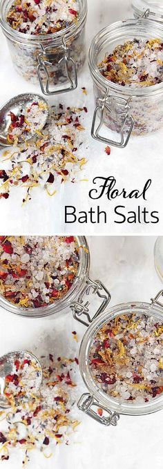 Floral Bath Salts | 17 DIY Bath Salts | Learn How To Make The Most Relaxing Bath Salt Recipes by DIY Ready at http://diyready.com/17-diy-bath-salts-bath-salt-recipe/