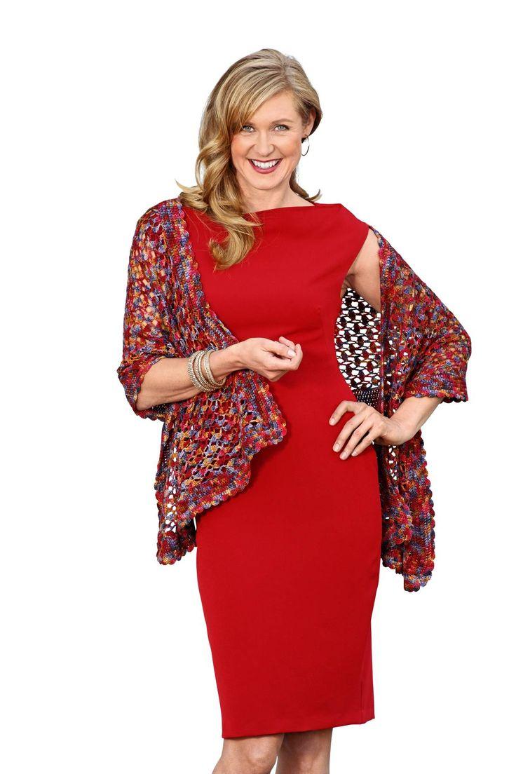 Heklet sjal i  Silk Blend fra Manos del Uruguay i farge Autumn. Garnet kan du bestille på Woolspire. Her finner du flere flotte farge-kombinasjoner. Garnet er i 70 % fin merinoull og 30 % silke, og helt nydelig å jobbe med.