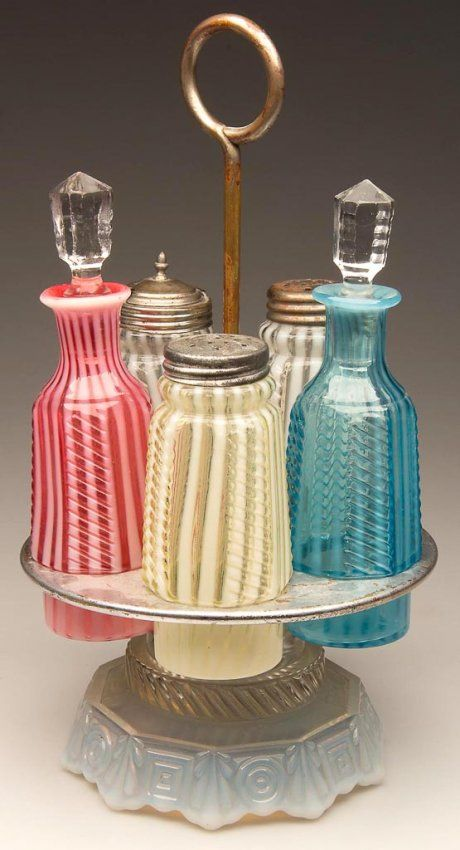 OPALESCENT STRIPE FIVE-BOTTLE CASTER SET (Wonder if this is what the piece is that I bought in Texas??)