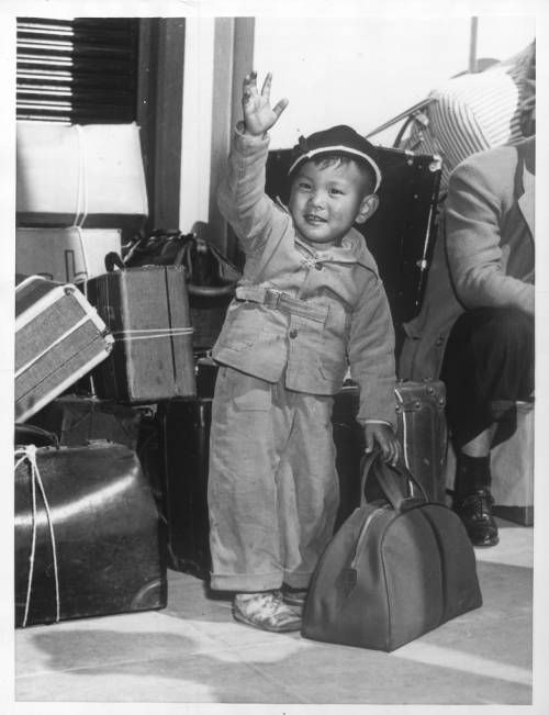 """Page 1 :: """"Jap Evacuation -- Two-year-old Keith Miyamoto"""" -- caption on photograph :: Japanese American Relocation Digital Archive, 1941-1946. http://digitallibrary.usc.edu/cdm/ref/collection/p15799coll75/id/1629"""
