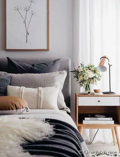 Helle und trendige Mitte Jahrhundert moderne Schlafzimmer Dekor Ideen # Jahrhundert #dec