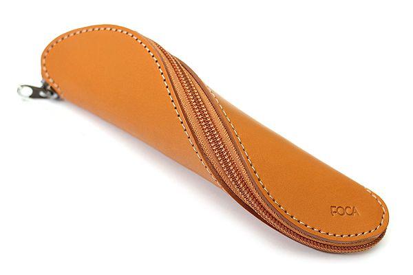 Zip Wrap Leather Pencil Case - Twist Model - Camel Brown