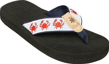 Tidewater Sandals Women S Crab Seersucker Flip Flops Blue