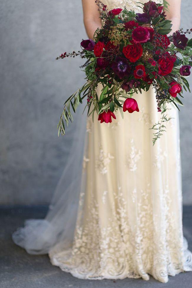 Elegant Ivory and Crimson Winter Bridal Bouquet | Natalie McNally Photography