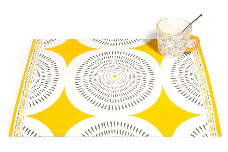 Set de table en coton jaune/gris 33 x 48 cm HELICONIA | Maisons du Monde