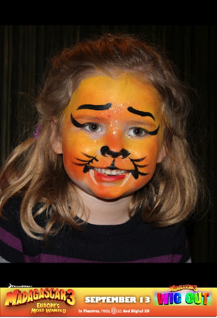 WigOut face painting inspired by Madagascar 3 = Kids and Family Approved! Download WigOUt app http://itunes.apple.com/au/app/madagascar-3-wig-out/id525137708?mt=8    September School Holiday #movie ideas #kids movie #entertainment