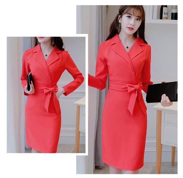 Office Notched Dress