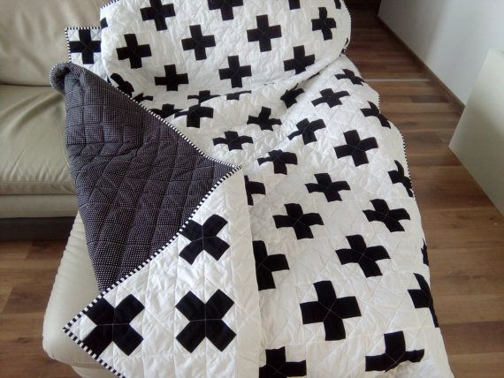 Plus Quilt / Swiss Crosses Quilt / Black & White Quilt / by Hearttoheartquilts   Etsy