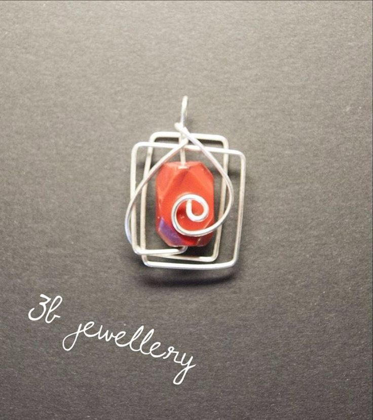 Wires are starting to be playful! #red pendant is ready for you #3bjewellery #wirewrapping #beginner