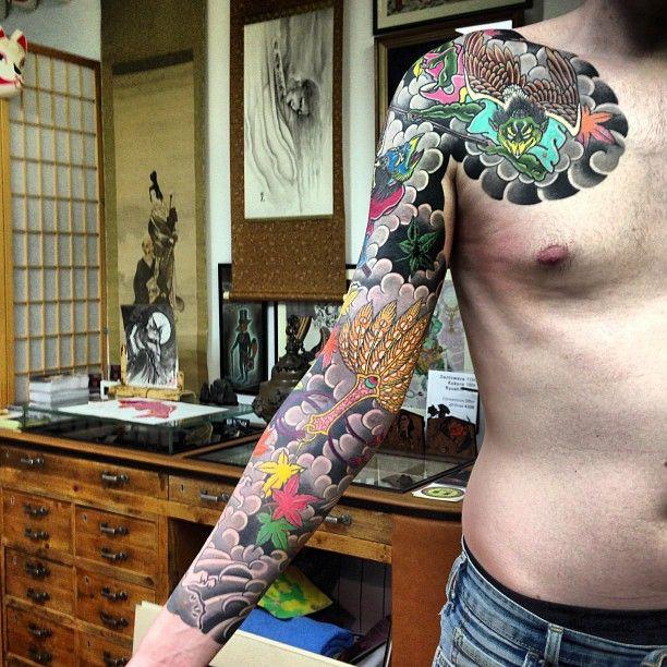 #karasu #tengu #sleeve #tattoo #irezumi #horimono #horikitsune #london #horiyoshi3 #family #japan thank you Ed